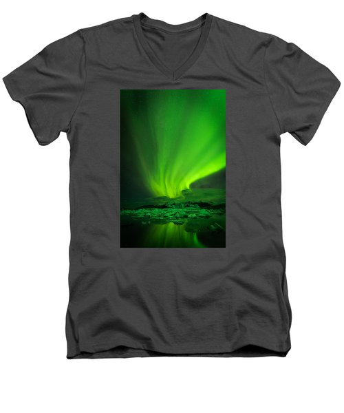 Lights Over Jokulsarlon Men's V-Neck T-Shirt by Chris McKenna