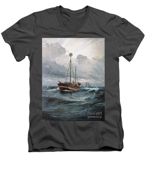 Lightship At Skagen Reef Men's V-Neck T-Shirt by Pg Reproductions