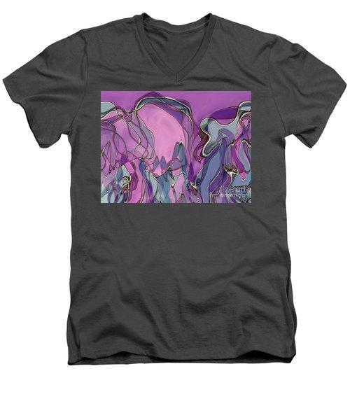 Men's V-Neck T-Shirt featuring the digital art Lignes En Folie - 13a by Variance Collections