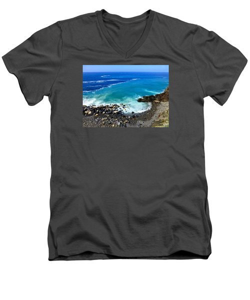 Ligurian Coastline Men's V-Neck T-Shirt by Amelia Racca