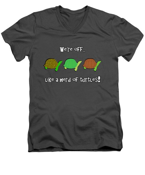 Like A Herd Of Turtles Men's V-Neck T-Shirt by Methune Hively