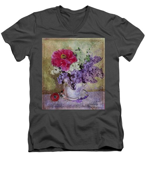 Men's V-Neck T-Shirt featuring the digital art Lilac Bouquet by Alexis Rotella