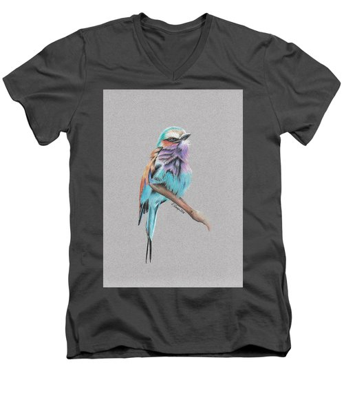 Lilac Breasted Roller Men's V-Neck T-Shirt by Gary Stamp