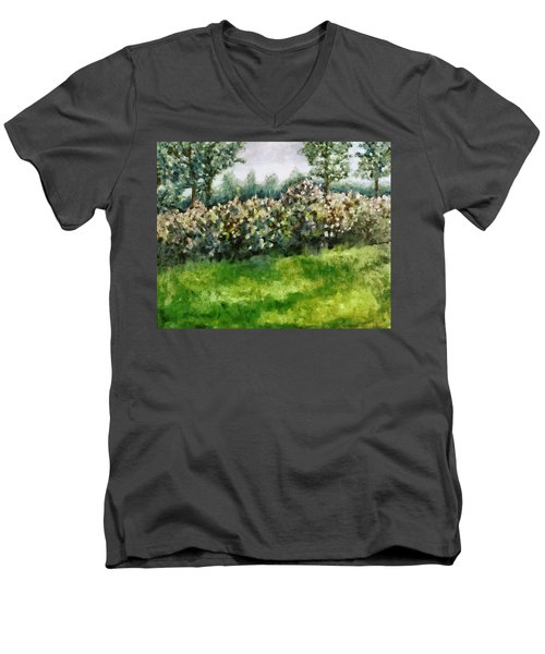 Lilac Bushes In Springtime Men's V-Neck T-Shirt