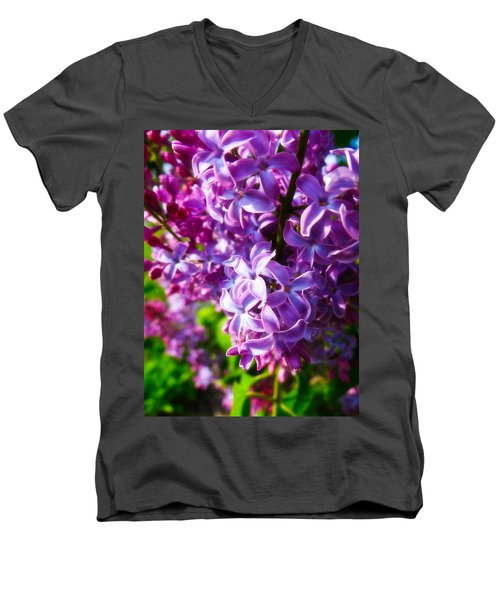Men's V-Neck T-Shirt featuring the photograph Lilac In The Sun by Julia Wilcox