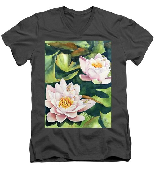 Lilies And Dragonflies Men's V-Neck T-Shirt