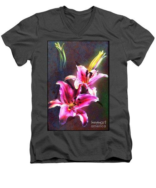 Lilies At Night Men's V-Neck T-Shirt