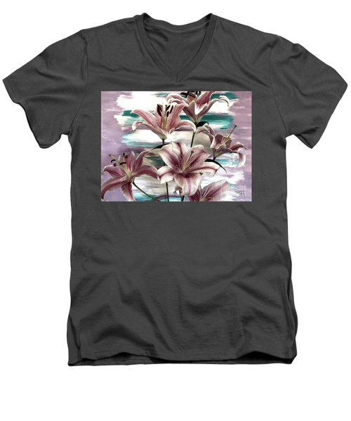 Lilies That Soothe Me Men's V-Neck T-Shirt