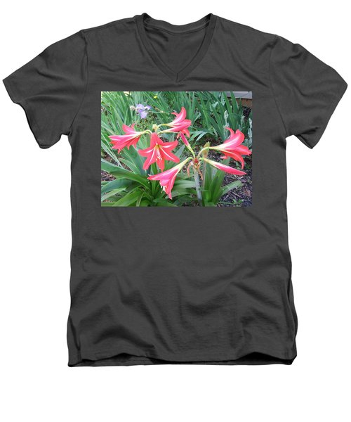 Lillies Men's V-Neck T-Shirt by Cathy Harper