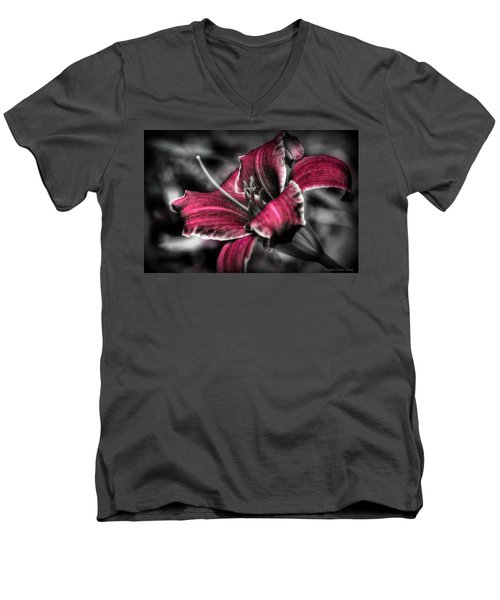 Men's V-Neck T-Shirt featuring the photograph Lilly 3 by Michaela Preston