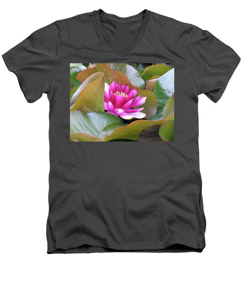 Lilly In Bloom Men's V-Neck T-Shirt by Wendy McKennon