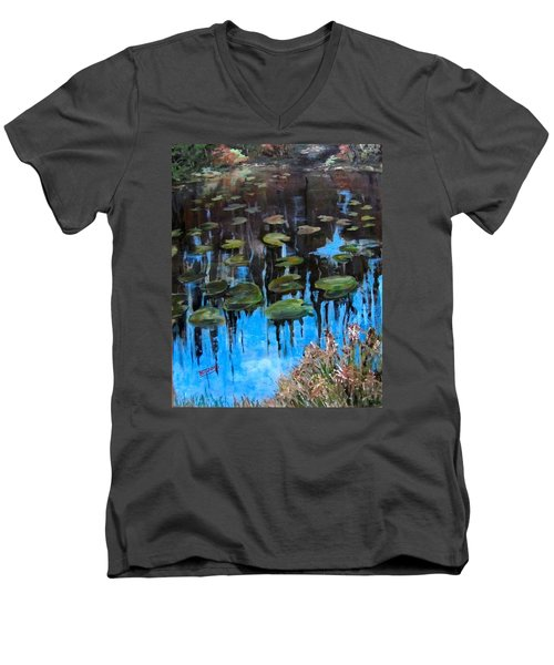 Lilly Pads And Reflections Men's V-Neck T-Shirt by Barbara O'Toole