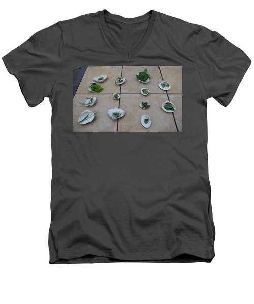 Lilly's Herb Seashore Seashells Men's V-Neck T-Shirt by Greg Graham
