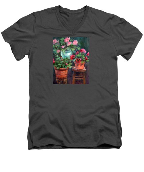 Lil's Geraniums Men's V-Neck T-Shirt