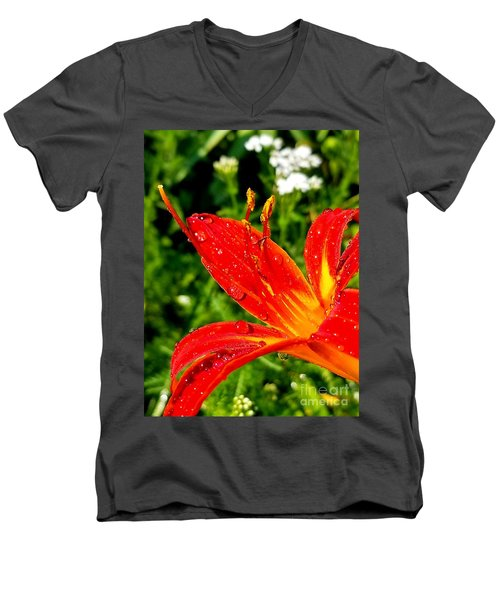 Lily And Raindrops Men's V-Neck T-Shirt