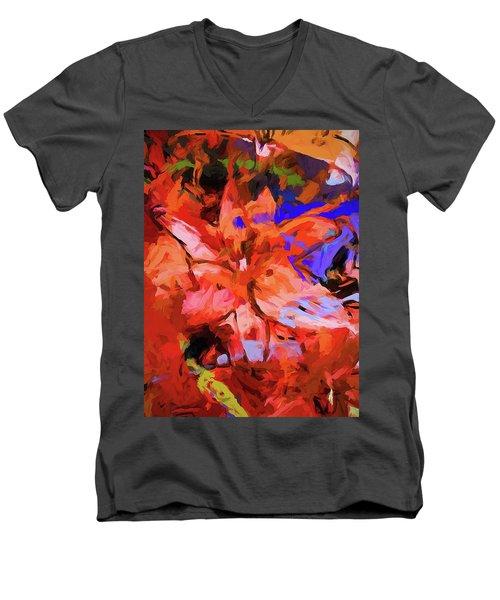 Lily Cobalt Orange Men's V-Neck T-Shirt
