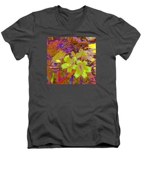 Lily Glow Yellow Men's V-Neck T-Shirt