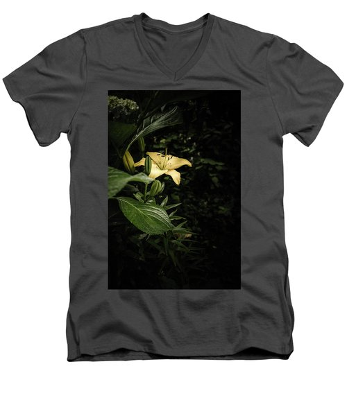 Men's V-Neck T-Shirt featuring the photograph Lily In The Garden Of Shadows by Marco Oliveira