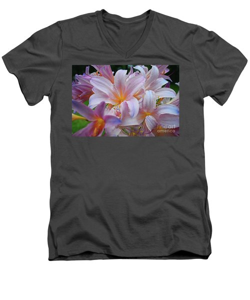 Lily Lavender Closeup Men's V-Neck T-Shirt