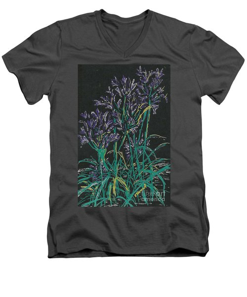 Men's V-Neck T-Shirt featuring the mixed media Lily Of The Nile  by Vicki  Housel