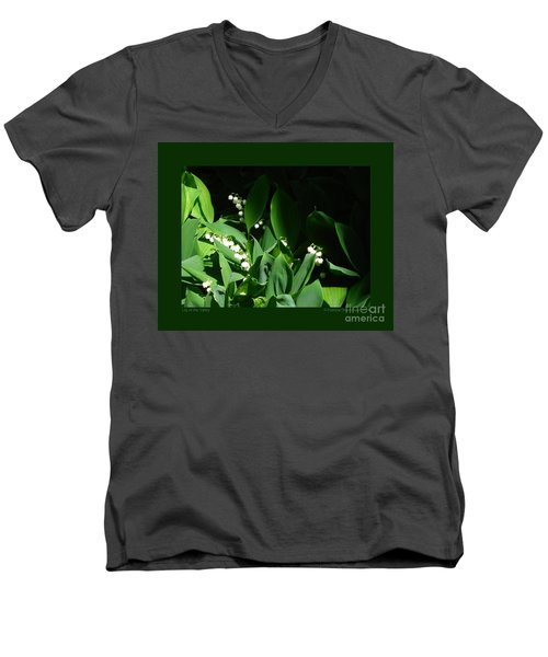 Lily Of The Valley Men's V-Neck T-Shirt by Patricia Overmoyer