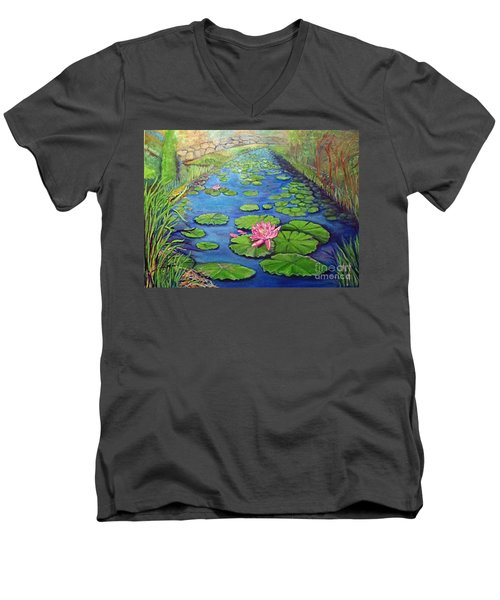 Water Lily Canal Men's V-Neck T-Shirt by Ecinja Art Works