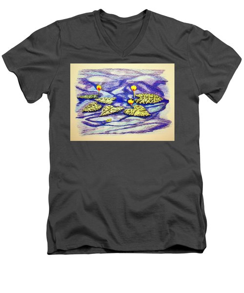 Lily Pad Pond Men's V-Neck T-Shirt by J R Seymour
