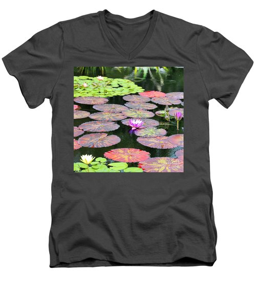 Lily Pads And Parasols Men's V-Neck T-Shirt