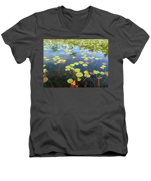 Lily Pads And Reflections Men's V-Neck T-Shirt by Susan Lafleur
