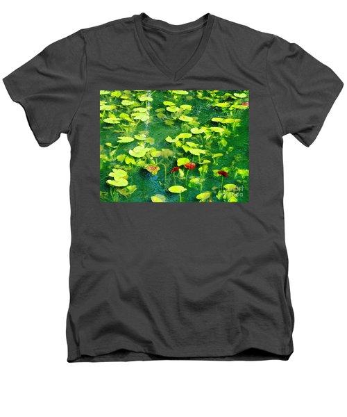 Lily Pads Men's V-Neck T-Shirt by Melissa Stoudt