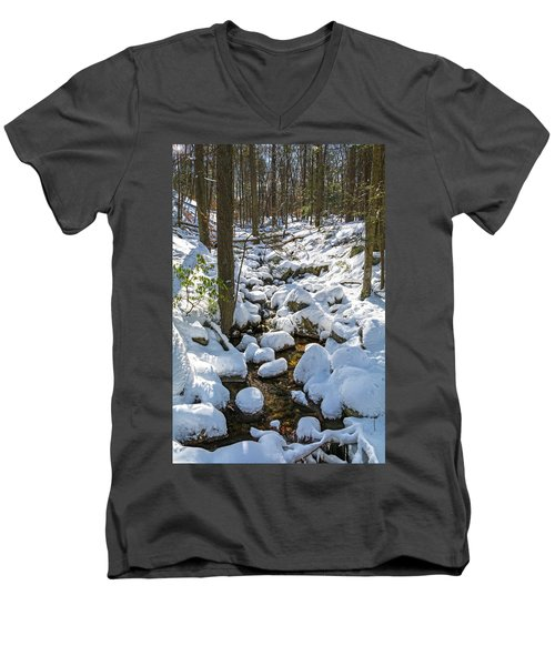 Lily Pads Of Snow Men's V-Neck T-Shirt by Angelo Marcialis