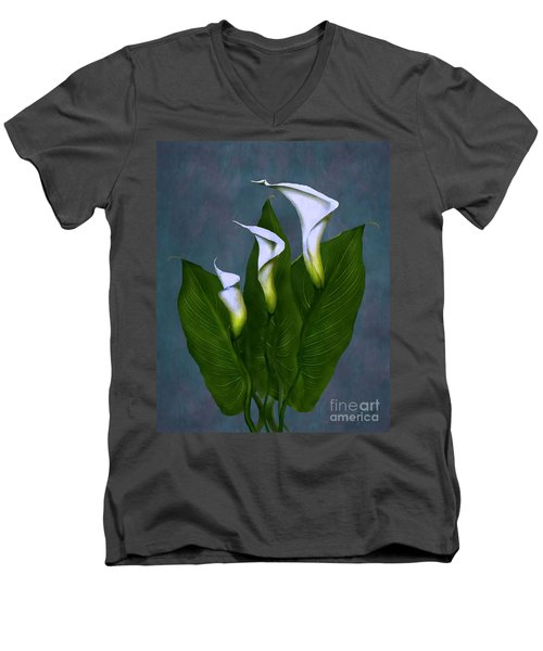 Men's V-Neck T-Shirt featuring the painting White Calla Lilies by Peter Piatt