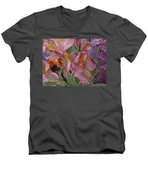 Lily Profusion 7 Men's V-Neck T-Shirt by Lynda Lehmann