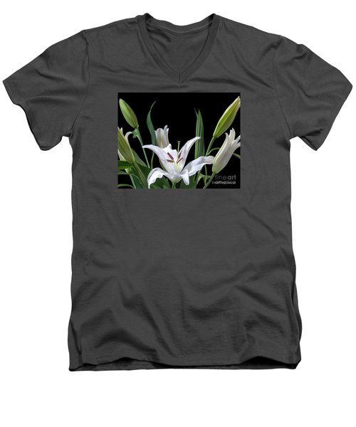 A White Oriental Lily Surrounded Men's V-Neck T-Shirt by David Perry Lawrence
