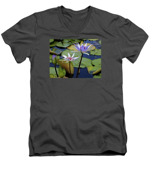 Men's V-Neck T-Shirt featuring the photograph Lily Trio by Judy Vincent
