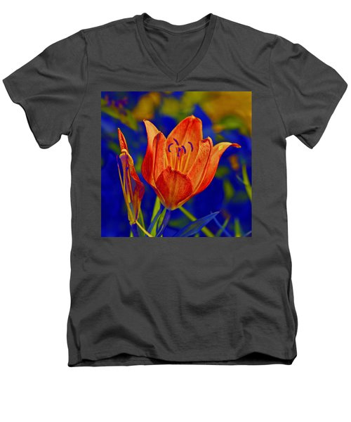 Men's V-Neck T-Shirt featuring the photograph Lily With Sabattier by Bill Barber