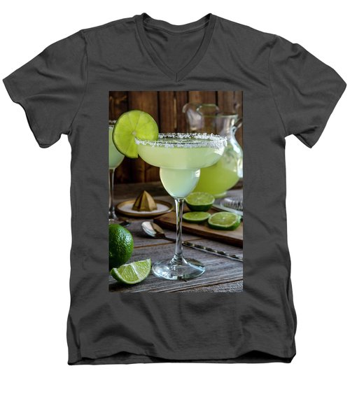 Men's V-Neck T-Shirt featuring the photograph Lime Margaritas by Teri Virbickis