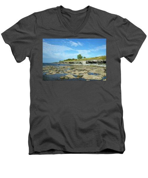 Men's V-Neck T-Shirt featuring the photograph Limestone Coast Patterns by Kennerth and Birgitta Kullman