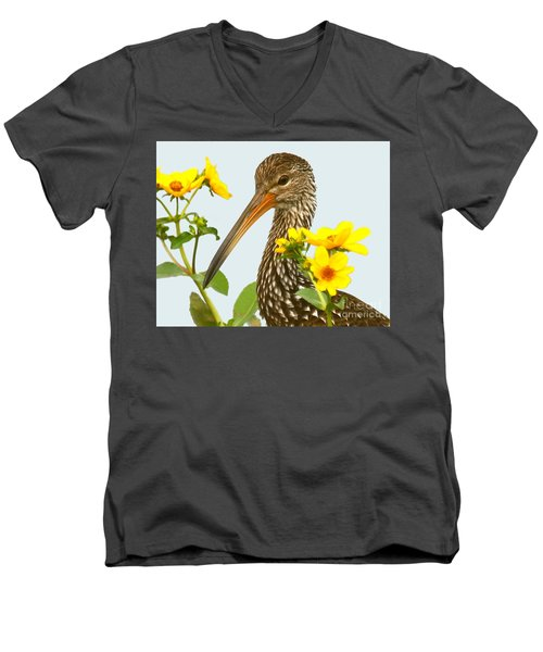 Limpkin In The Flowers Men's V-Neck T-Shirt by Myrna Bradshaw