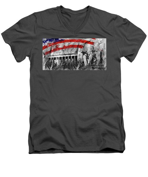 Men's V-Neck T-Shirt featuring the painting Lincoln Abe by Gull G
