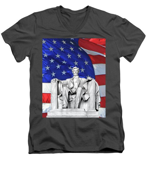 Men's V-Neck T-Shirt featuring the photograph Lincoln America by Christopher McKenzie