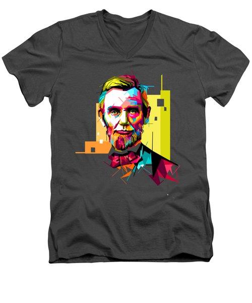 Lincoln Men's V-Neck T-Shirt by Iffa Baskaragris