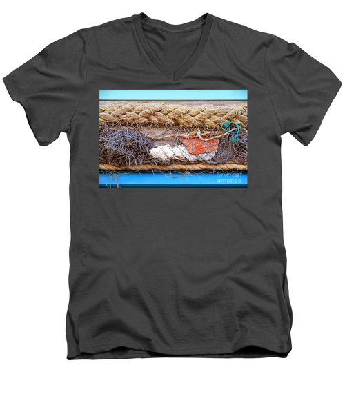 Men's V-Neck T-Shirt featuring the photograph Line Of Debris by Stephen Mitchell