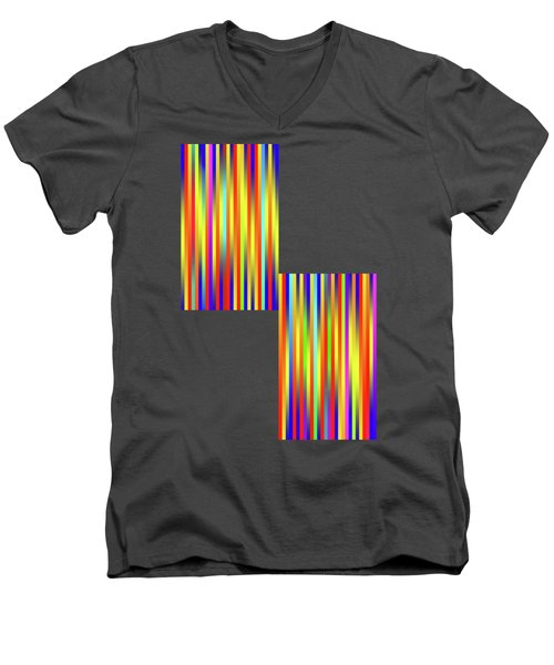 Men's V-Neck T-Shirt featuring the digital art Lines 17 by Bruce Stanfield