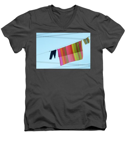 Lines In The Sky Men's V-Neck T-Shirt by Ana Mireles