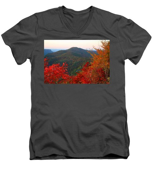 Men's V-Neck T-Shirt featuring the photograph Linville Gorge by Kathryn Meyer