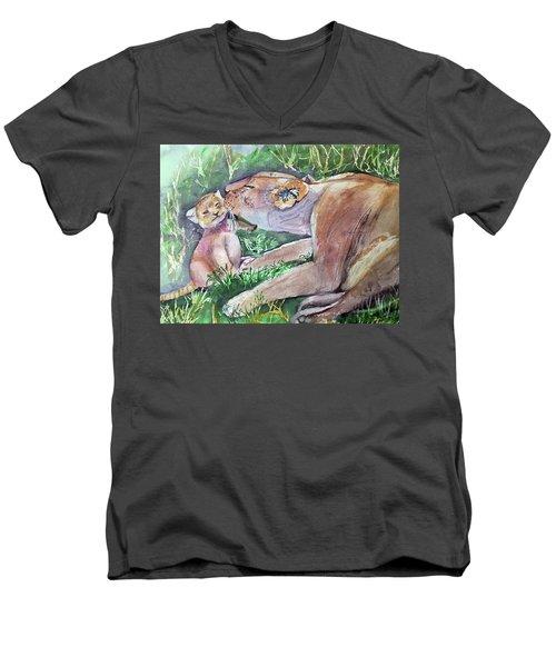 Lion And Cub Men's V-Neck T-Shirt