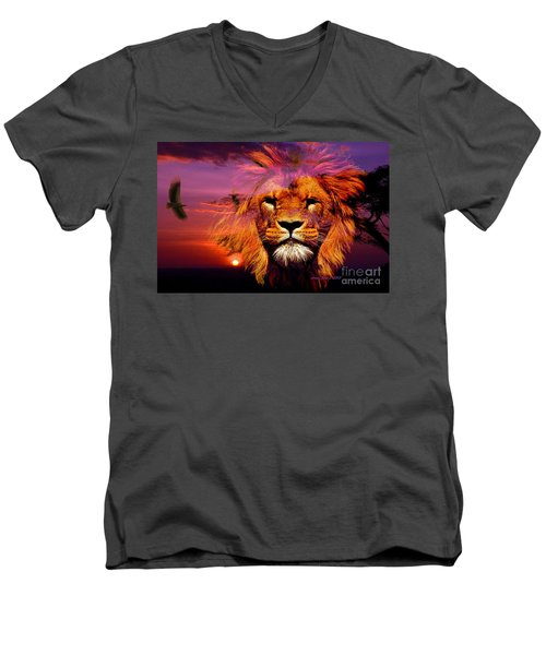 Lion And Eagle In A Sunset Men's V-Neck T-Shirt by Annie Zeno