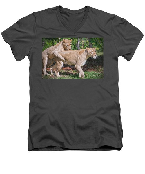 Men's V-Neck T-Shirt featuring the painting Lion Backer by Judy Kay