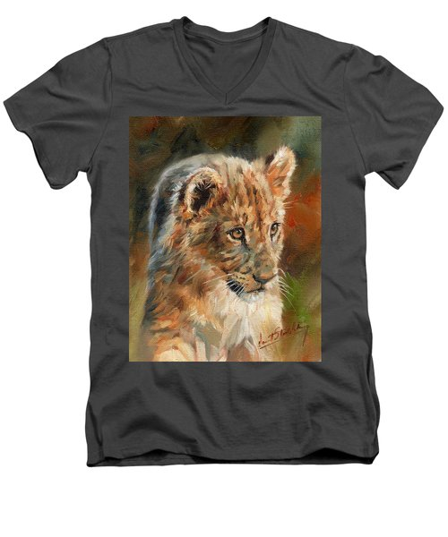 Men's V-Neck T-Shirt featuring the painting Lion Cub Portrait by David Stribbling